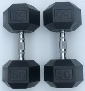 BRAND NEW 50LB PAIR OF RUBBER COATED HEX DUMBBELLS WEIGHTS FOR COMMERCIAL GYM