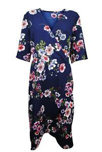 Womens Simply Be Midi Wrap Dress Short Sleeve Floral Print Navy Plus Size 18