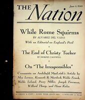 Vtg Original THE NATION Magazine June 1, 1940 While Rome Squirms  m1319