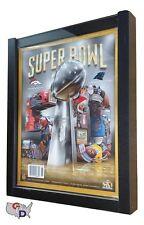 "Sports Program Display Frame Magazine Black Shadow Box Standard Over .5"" Deep"