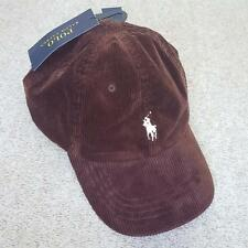 NEW POLO RALPH LAUREN SPORTS CAP HAT CORDUROY LEATHER STRAP BROWN BURGUNDY WAVY