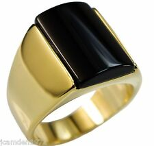 Black Onyx 12mm x 17mm Smooth Men's ring 18k gold overlay size 11