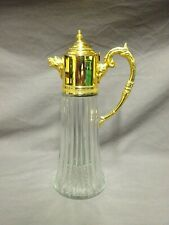 """Attractive Vintage Glass & Gold Plated 11"""" Claret Jug / Decanter"""