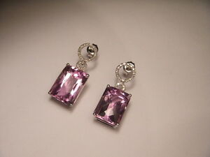 Beautiful 18K White Gold Diamond Amethyst Drop Earrings