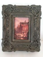 "Vtg Gray Gilt Ornate Picture Frame For 5""x7"" Chalkware? Baroque Rococo Gondola"