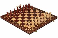 """CONSUL WOODEN CHESS SET - BROWN - 19"""" FOLDING BOARD - 3 1/2"""" KING"""