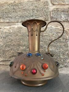 Vintage Victorian Brass Jeweled Ewer Fairy Finger Lamp Candle Holder