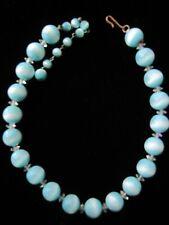 "Vintage Aqua White Moonstone Bead Choker Necklace 15"" L Moon glow"