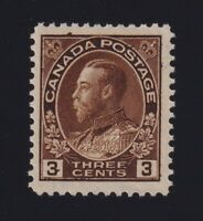 Canada Sc #108c (1923) 3c dark brown Admiral Dry Printing Mint NH