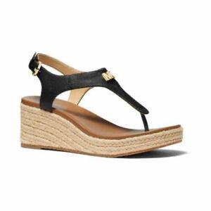 NEW Women's Michael Kors Laney Thong Espadrille Sandals Black size 7 NWOB
