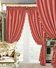 Modern 4Pc Premium Quality Solid Coral Velvet Curtain Set / Drapes