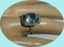 VINTAGE 14K GOLD BLUE TOPAZ AND DIAMOND RING  SIZE 7 1/4