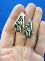 925 Silver Filigree Earrings. Made In Russia.