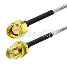SMA plug to SMA jack bulkhead semi-rigid cable RG405 1m