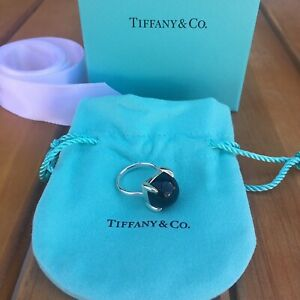 Tiffany & Co Sugar Stacks Picasso Black Onyx Sterling Ring Cabochon 5 NEW RARE!