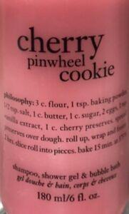 NEW PHILOSOPHY 🍒 CHERRY PINWHEEL COOKIE 🍪 SHAMPOO SHOWER GEL BUBBLE BATH 6 OZ