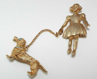 Vintage rhinestone Lady walking DOG figural pin BROOCH costume Chatelaine