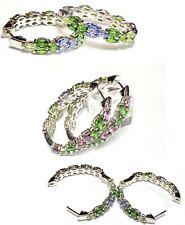 Sterling Silver Multicolor Stones Marquise Shape Hoop Earrings Huggie Style