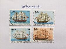 Lot 4 timbres Caraïbes 1996 FDC. YT CU 3534/37, Mi CU 3920/23. Bâteaux