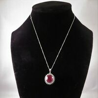 5.15 Carat Natural Red Ruby and Diamonds in 14K Solid White Gold Necklace