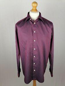 "Mens Eton ""Warwick"" Long Sleeve Shirt Size 17 Contemporary Fit Geometric Cotton"