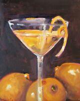 martini lemons drink still life 10x8 oil painting art Delilah