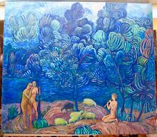 Dramatic Russian Modern Expressionist Sheep & Nude Bathers In Landscape Signed