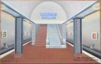 Chicago, IL 1940s Linen Postcard: Subway Moving Stairs/Escalator - Illinois Ill
