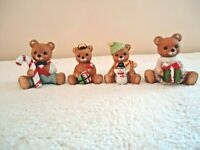 "Vintage Lot of 4 Homco Sitting Bear Figurines,2,# 1413,2,# 5211 "" GREAT LOT """