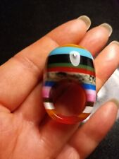 CHUNKY HIGH DOMED RESIN LAMINATED STRIP MIX COLOUR RING ... SIZE N
