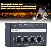 NEW ammoon Low Noise 4 Channels Line Audio Mixer with US Power Adapter Durable