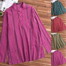 Mens Stripe Light Cotton Festival Full Sleeved Hippie Collarless Grandad Shirts