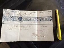Historic Ephemera Invoice Boston Massachusetts Rand Avery Printing Printers