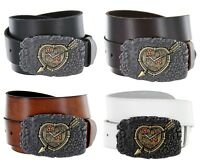 Made in Italy Steampunk Clockwork Cupid Mens Jean Belt One-Piece Cowhide Leather