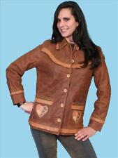 SCULLY Womens BROWN LEATHER JACKET & HORSES - New - M
