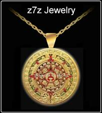 MAYAN COIN of DOOM Necklace - gold ancient aliens jewelry pendant aztec z7qq
