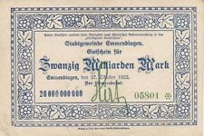 RARE Very Large  4x6inc. GERMANY 1923 20,000,000,000 20 BILLION MARK INFLATION