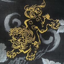 Foo Dog fabric, Fu Lion, Japanese black gold, oriental cotton, chinese, metallic