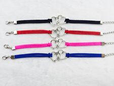 4Pcs mix Double Heart Infinity leather Bracelet Faux Suede Friendship Eternal