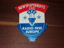 Vintage Newspaperboys for RFE Radio Free Europe Cardboard Pin
