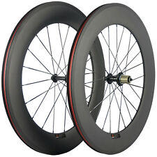 88mm Carbon Fiber Bike Road Wheels V Brake Bicycle Wheelset 23mm Width 3K Matte