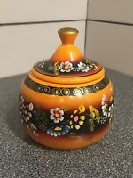 VINTAGE USSR Russian Painted WOOD CANISTER Jar Container Yellow Floral