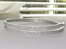 824 bangle STERLING SILVER  realistic pave double row simulated diamonds STAMPED