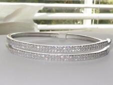 824 Bracciale in Argento Sterling realistico PAVE Doppia Fila Diamanti Simulati timbrato
