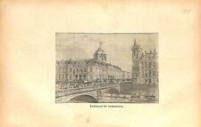 Tribunal de Commerce Île de la Cité à Paris France GRAVURE ANTIQUE PRINT 1873