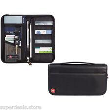 Leather Travel Passport ID Credit Card Zippered Organizer Wallet Black - Wenger