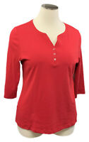 New KAREN SCOTT 2X Amore Red Cotton 3/4 Sleeve Split-V Henley Knit Top