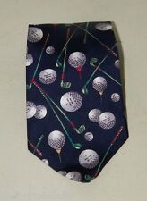 Vintage Prestige Golf Golfer Navy Blue Necktie Silk 16617