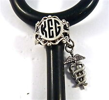 STETHOSCOPE ID TAG RING LACE CHARM,CADUCEUS MONOGRAM,SIL.VET.TECH,NURSE,RN