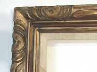 ANTIQUE ART & CRAFT  HAND CARVED  GILDED WOOD FRAME FOR PAINTING  24 X 12